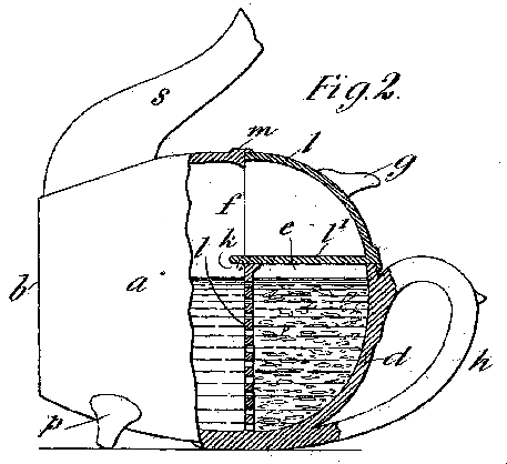 """""""An Improvement in Tea and Coffee Pots: 18,278. Dundonald, D. M. B. H. Cochrane, Earl of. Sept. 9. Teapots; coffee-pots. - Teapots or coffee-pots as described in Specification No. 1926, A.D. 1901, are formed with a hollow top d, which with a tray t forms a receptacle for the tea &c. The pot is closed by a lid l, with a partition l for closing the infusion-chamber. The second base is formed by the handle h and projections p. A hinged flap attached to the top of the pot may replace the partition l, and the tray t may incline upwards and outwards."""""""
